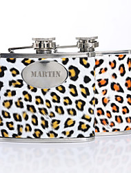 Personalized Gift Leopard Print Pattern 5oz PU Leather Capital Letters Flask