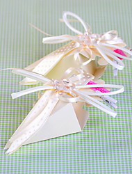 Pyramid Shaped Favor Box With Ribbon for Baby Shower - Set of 12