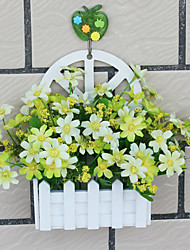 """11""""H Country Style Daisy in White Vase Wall Hanging Type"""
