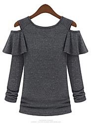 Women's Solid Black/Gray/White T-shirt , Casual/Party Round Neck Long Sleeve Ruffle/Hollow Out