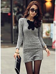 Mujer Mini vestido de la flor de mariposa de lana suéter manga larga de la falda