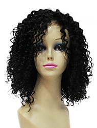 Charming 100% Human Remy Hair Short Black Curly Hair Lace Front Wig