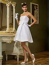 Lanting Bride A-line / Princess Petite / Plus Sizes Wedding Dress-Knee-length Strapless Taffeta