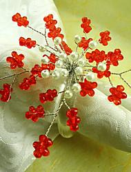 Rode Bloem Acryl Kralen Servetring, Dia4.2-4.5cm set van 12