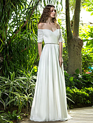 Lanting Bride® A-line Petite / Plus Sizes Wedding Dress - Chic & Modern / Glamorous & Dramatic Floor-length Off-the-shoulder Chiffon with