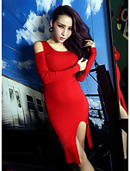 Sexy Cat Thief Solid Color Long Sleeve Bodycon Knitwear Dress(Red)