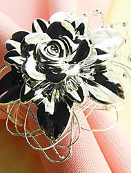 Silber, Gold, Blume, Serviettenring Set von 12, Acryl Dia 4,5 cm