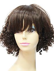 Charming 100% Human Remy Hair Short Black Curly Hair Capless Wig