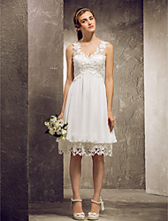 Knee-length Chiffon / Lace Bridesmaid Dress - Ivory Plus Sizes / Petite A-line / Princess V-neck