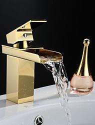 Traditional Waterfall Golden Single Handle Brass Bathroom Sink Faucet