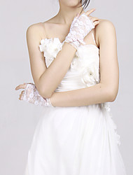 Lovely Satin With Lace Fingerless Wrist Length Ladies' Evening/Party Gloves