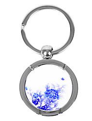 Bleu-et-blanc Style Porcelaine Keychain rond - Pivoine