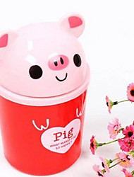 Creative Cartoon Red Pig Lidded Mini Desktop Bin