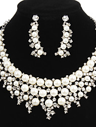 Charming Alloy Silver Plated With Clear Rhinestone and Immitation Pearl Bridal Jewelry Set(Necklace,Earrings)