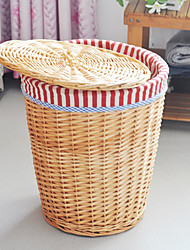 Traditional Red Stripe Cloth Liner Bamboo Storage Bin For Cloth