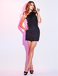 TS Couture® Cocktail Party / Holiday Dress - Short / Floral / Little Black Dress Plus Size / Petite Sheath / Column One Shoulder Short / Mini Chiffon