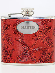 Personalized Gift Phoenix Pattern Red 5oz PU Leather Capital Letters Flask