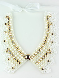 Women's Vintage Lace Pearls V Neck Collar