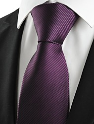 De cravate de costume formel des hommes prune pourpre New rayés de cadeau de mariage de vacances