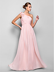 Formal Evening / Prom / Military Ball Dress - Pearl Pink Plus Sizes / Petite Sheath/Column One Shoulder Floor-length Chiffon
