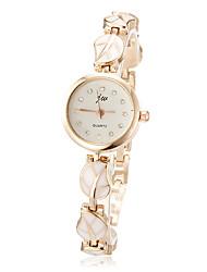 Damen Modeuhr Armband-Uhr Quartz Legierung Band Blätter Elegante Weiß Rosa Marke