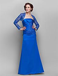 Sheath/Column Plus Sizes / Petite Mother of the Bride Dress - Royal Blue Floor-length Long Sleeve Lace / Satin