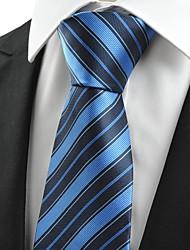 New strisce blu scuro JACQUARD Mens cravatta del legame formale per Wedding Souvenir