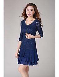 Women's Plus Size Chiffon Long Sleeve Round Collar Dress