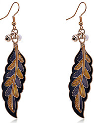 Drop Earrings Gold Plated Leaf Yellow Jewelry Party Daily Casual 2pcs
