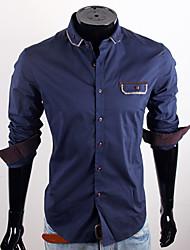 Royal Blue Decoração camisa do bolso do CUBFACE Homens