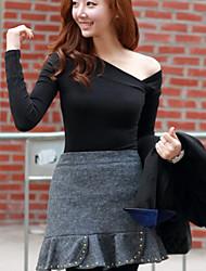 Ying Na assimétrica Collar manga comprida Magro Bottoming Dress (preto)