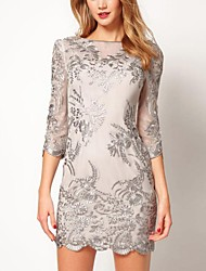 Women's Embroidered Gauze Three Quarter Sleeve Dress