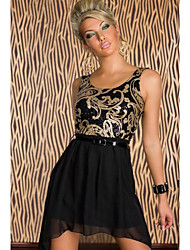 Moonosa Fashion Vintage Little Black Dress Metal Floral Foils Tulle Skirt Cocktail Ball Party
