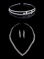 Alloy Wedding/Party Jewelry Set With Rhinestone