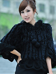 Half Sleeve Hooded Rabbit Fur Party/Casual Jacket