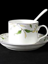 Leaves Pattern  Coffee Mug,Porcelain 5oz