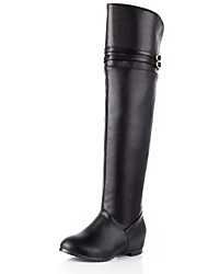 Suede Faux Patent  Leather Women's Inner Wedge  Heel  Over-the-knee Boots   (More Colors)