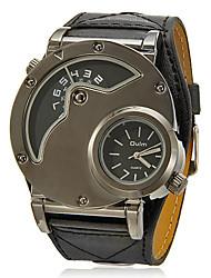 Мужской Армейские часы С двумя часовыми поясами Кварцевый PU Группа Черный
