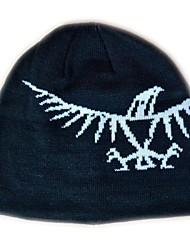 Mode Beanie Knited Cap Keep Warm acrylique souple de chapeau d'hiver et Taille unique Noir avec Eagle