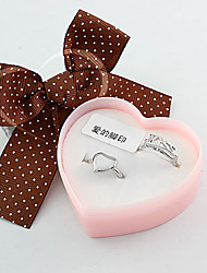Silver Kiss Heart Couple Ring