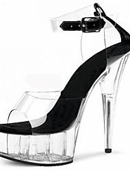 Plastic Women's Stiletto Heel Platform Sandals Shoes (More Colors)