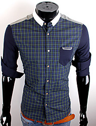 Royal Blue Lazer check camisa do CUBFACE Homens