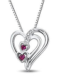 Fashion (forma di cuore) Sterling Silver platinata con Created rubino e diamanti collana delle donne