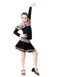 Performance Viscose Leopard Color Block Off épaule latine Vêtements vêtements pour enfants