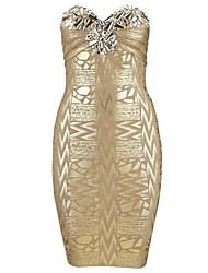 Ladies Bainha luxuoso enchido impresso Strapless Vestido Bandage