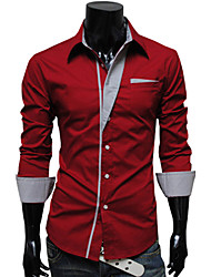 DD Wear Personal Stripes Decorative Long Sleeve Slimming Shirt(Red)