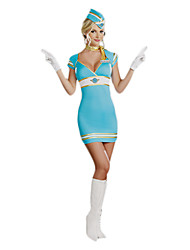 Sexy Girl Blue Polyester Carnival Stewardess Uniform