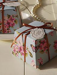 Fleur et papillon boîte de faveur de configuration avec la bande - Ensemble de 12