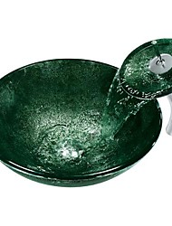 Green RoundTempered Glass Vessel Sink with Waterfall Faucet ,Pop - Up drain and Mounting Ring