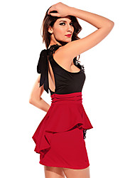 Women's Halter Ruffle/Backless/Mesh Mini Dress , Polyester Red Sexy/Party